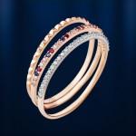 Золотое тройное кольцо. Фианит