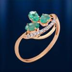 Хризопраз & Бриллианты. Золотое кольцо