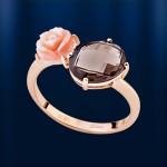 Кольцо золотое с корaллом & раухтопазом