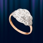 Кольцо из русского золота 585 с цирконами