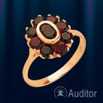 """Кольцо из золота 585 с гранатом """"Классик"""""""
