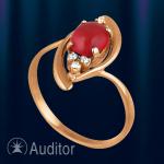 Кольцо из золота 585 c кораллом