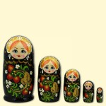 "Матрёшка ""Россинка"" 5 фигур чёрная"