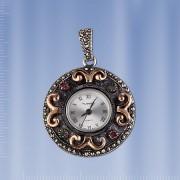 Кулон серебряный - часы. Изумруды & Рубины