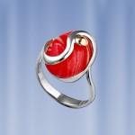 Кольцо Очарование с кораллом. Золото & Серебро