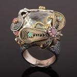Кольцо серебряное с празиолитом. Рубины & Изумруды