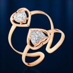 Кольцо на фалангу золотое. Фианиты