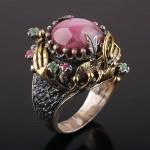 Розовый агат. Кольцо серебряное