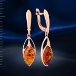 Серебряные серьги-подвески с янтарём