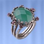 Кольцо серебряное. Хризопраз & Рубины