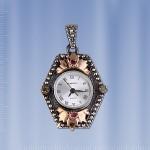 Часы - кулон. Изумруды & Рубины. Серебро