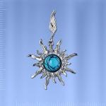 Солнышко Подвеска с бирюзой серебряная
