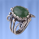 Кольцо серебряное. Нефрит