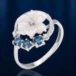 Серебряное кольцо с перламутром. Топаз & Фианиты
