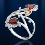 Кольцо серебряное. Гранат & цитрин