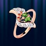 Золотое кольцо с хромдиопсидом. Русское золото