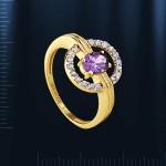 Кольцо золотое с аметистом, фианитами.