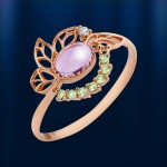 Золотое кольцо. Аметист & Хризолит
