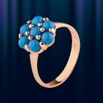 Кольцо из золота 585 с бирюзой