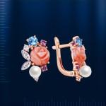Серьги золотые. Коралл, жемчуг, топаз, аметист