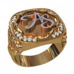 Кольцо мужское из золота с инициалами
