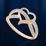Кольцо с фианитами. Русское золото