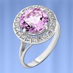 Серебряное кольцо Судьба. Аметист & Фианиты