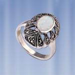 Серебряное кольцо с Опалом и Марказитом