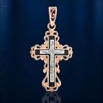 Нательный крестик золотой с распятием. Эмаль