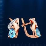 Серьги золотые. Бриллианты & Топазы