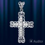 Крестик серебрянный нательный узорный