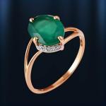 Кольцо с Хризопразом. Русское золото