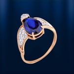 Золотое кольцо Сапфир & Фианиты