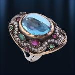 Кольцо серебряное с топазом. Рубин & Изумруд.