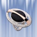 """Кольцо """"Сатурн"""" с ониксом. Золото, серебро"""