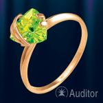Кольцо из золота 585 с хризолитом