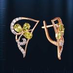 Крупные серьги золотые с хризолитом