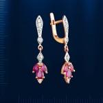 Серьги золотые. Бриллианты & Рубины