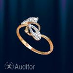 """Кольцо золотое с фианитами """"Бантик"""""""