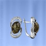 Серебряные серьги. Змеевик