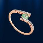 Кольцо с изумрудом и бриллиантами. Русское золото