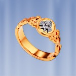 Кольцо оберег серебряное позолоченое
