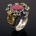 Рубин & Изумруды. Кольцо серебряное