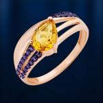 Кольцо золотое. Шпинель & Цитрин