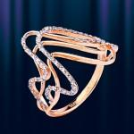 Золотое кольцо с цирконами. Русское золото