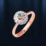 Кольцо золотое. Бриллиант & изумруд. Русское золото