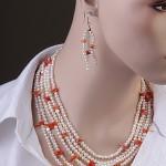 Ожерелье и серьги. Жемчуг & Коралл