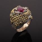Кольцо серебряное. Аметист & Рубины