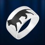 Кольцо Черная кошка. Серебро & Эмаль