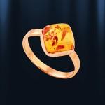 Кольцо с янтарем. Русское золото